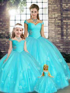 Customized Floor Length Aqua Blue Vestidos de Quinceanera Off The Shoulder Sleeveless Lace Up