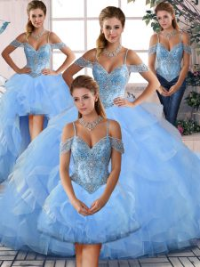 Blue Ball Gowns Off The Shoulder Tulle Lace Up Beading and Ruffles Ball Gown Prom Dress
