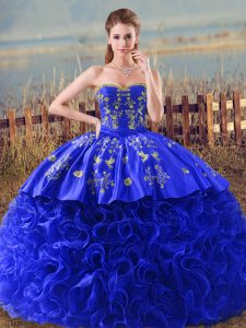 Organza Sweetheart Sleeveless Brush Train Lace Up Embroidery and Ruffles Quince Ball Gowns in Royal Blue