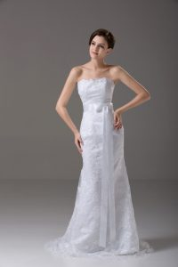 White Mermaid Tulle Strapless Sleeveless Lace and Belt Zipper Wedding Gowns Brush Train