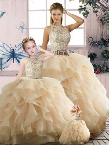 Scoop Sleeveless Zipper Sweet 16 Quinceanera Dress Champagne Tulle