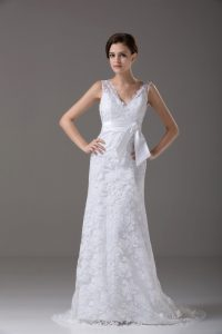 Exquisite White Column/Sheath Lace V-neck Sleeveless Lace and Belt Backless Wedding Dresses Brush Train