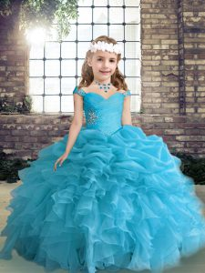 Fashionable Blue Sleeveless Floor Length Beading and Ruffles and Pick Ups Lace Up Little Girl Pageant Dress