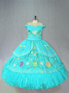 Ideal Sleeveless Embroidery Lace Up Vestidos de Quinceanera