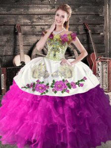 Dramatic Floor Length White And Purple Sweet 16 Dresses Organza Sleeveless Embroidery and Ruffles