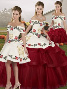 Amazing Sleeveless Brush Train Lace Up Embroidery and Ruffled Layers Quinceanera Gown