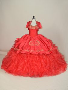 Red Sweetheart Lace Up Embroidery and Ruffles Vestidos de Quinceanera Brush Train Sleeveless