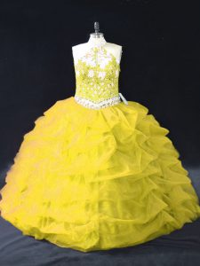 Gold Organza Backless Quinceanera Dress Sleeveless Floor Length Appliques and Pick Ups