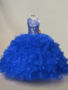 Top Selling Sleeveless Floor Length Ruffles and Sequins Lace Up Quinceanera Gowns with Royal Blue