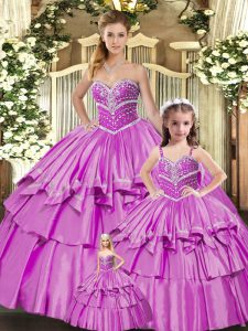 Hot Sale Taffeta Sleeveless Floor Length Quinceanera Gown and Beading and Ruffled Layers