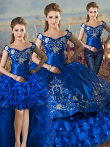 Elegant Royal Blue Satin and Organza Lace Up Off The Shoulder Sleeveless Floor Length Quince Ball Gowns Embroidery and Ruffled Layers