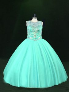 Deluxe Floor Length Turquoise 15th Birthday Dress Tulle Sleeveless Beading