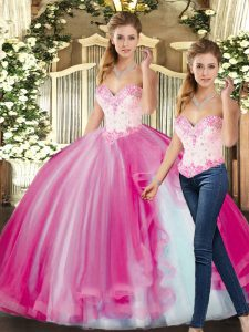 Sweetheart Sleeveless 15th Birthday Dress Floor Length Beading Fuchsia Tulle