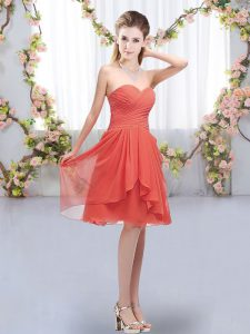 Clearance Coral Red Lace Up Dama Dress for Quinceanera Ruffles and Ruching Sleeveless Knee Length