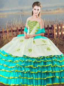 Aqua Blue Ball Gowns Organza Sweetheart Sleeveless Beading and Ruffled Layers Floor Length Lace Up Vestidos de Quinceanera
