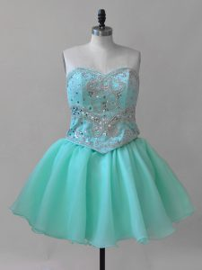 Decent Aqua Blue Lace Up Sweetheart Beading and Lace Prom Dresses Organza Sleeveless