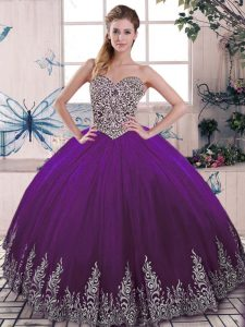 Tulle Sweetheart Sleeveless Lace Up Beading and Embroidery Ball Gown Prom Dress in Purple
