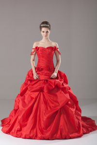 Low Price Taffeta Sleeveless Quinceanera Gown Brush Train and Ruching and Pick Ups and Hand Made Flower
