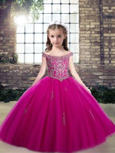 Fuchsia Ball Gowns Off The Shoulder Sleeveless Tulle Floor Length Lace Up Beading Little Girls Pageant Gowns