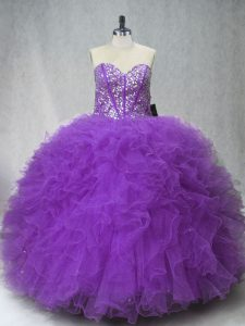Admirable Purple Sweetheart Neckline Beading and Ruffles Ball Gown Prom Dress Sleeveless Lace Up