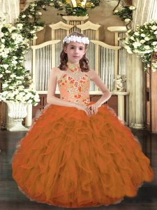 Beautiful Orange Pageant Dresses Party and Wedding Party with Appliques and Ruffles Strapless Sleeveless Lace Up