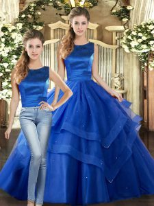 Ruffled Layers Quinceanera Gowns Royal Blue Lace Up Sleeveless Floor Length