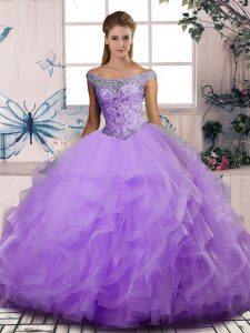 Off The Shoulder Sleeveless 15 Quinceanera Dress Floor Length Beading and Ruffles Lavender Tulle
