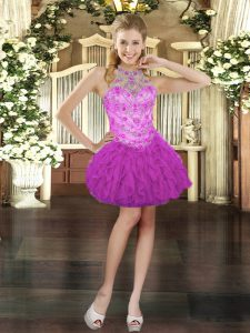 Exquisite Halter Top Sleeveless Tulle Prom Dresses Beading and Ruffles Lace Up