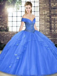 Fancy Off The Shoulder Sleeveless Lace Up Sweet 16 Dress Blue Tulle