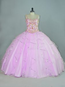 Pretty Ball Gowns Vestidos de Quinceanera Lilac Straps Tulle Sleeveless Floor Length Lace Up
