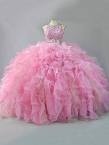 High Class Pink Sleeveless Floor Length Beading and Ruffles Lace Up Sweet 16 Dress