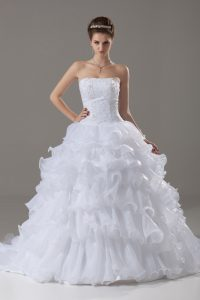 Clearance White Wedding Dress Strapless Sleeveless Brush Train Lace Up
