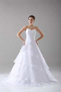 White Organza Lace Up Bridal Gown Sleeveless Brush Train Beading and Ruffled Layers and Hand Made Flower
