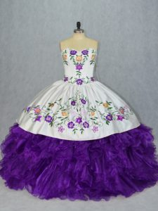 On Sale Floor Length Lace Up Quince Ball Gowns White And Purple for Sweet 16 and Quinceanera with Embroidery and Ruffles