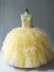 Glorious Yellow Ball Gowns Scoop Sleeveless Organza Floor Length Lace Up Beading and Ruffles Sweet 16 Quinceanera Dress