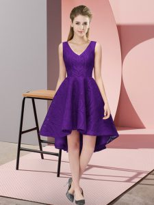 Custom Made Sleeveless Lace High Low Zipper Quinceanera Dama Dress in Purple with Lace