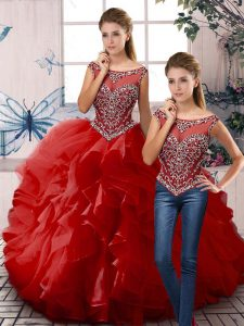 Customized Red Zipper Scoop Beading and Ruffles Sweet 16 Quinceanera Dress Organza Sleeveless