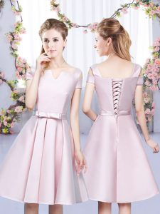 Adorable Baby Pink A-line Bowknot Quinceanera Court Dresses Lace Up Satin Sleeveless Mini Length