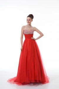 Delicate Red Tulle Zipper Womens Evening Dresses Sleeveless Beading