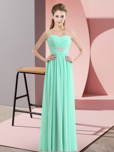 Apple Green Chiffon Zipper Homecoming Dress Online Sleeveless Floor Length Beading