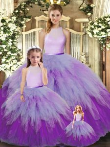 Fashion Multi-color Sleeveless Organza Backless Quinceanera Gowns for Military Ball and Sweet 16 and Quinceanera