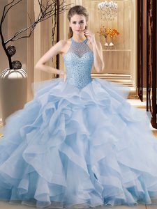 Ball Gowns Sleeveless Blue Quinceanera Gown Brush Train Lace Up