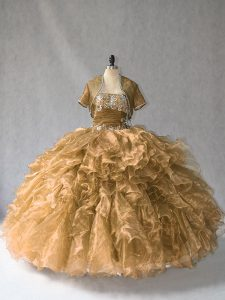 Brown Ball Gowns Beading and Ruffles Ball Gown Prom Dress Lace Up Organza Sleeveless Floor Length