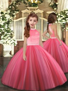 New Arrival High-neck Sleeveless Tulle Glitz Pageant Dress Beading Zipper