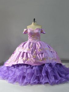 Lavender Sleeveless Chapel Train Embroidery and Ruffles Ball Gown Prom Dress