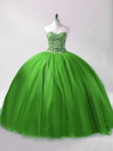 Sleeveless Floor Length Beading Lace Up Quinceanera Dresses with Green