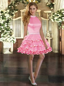 Great Rose Pink Halter Top Backless Beading and Ruffled Layers Prom Evening Gown Sleeveless