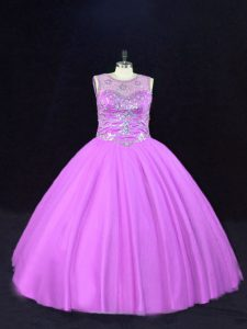 Tulle Scoop Sleeveless Lace Up Beading Sweet 16 Quinceanera Dress in Lilac