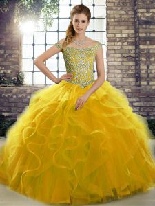 Lovely Gold Tulle Lace Up Off The Shoulder Sleeveless Sweet 16 Dress Brush Train Beading and Ruffles