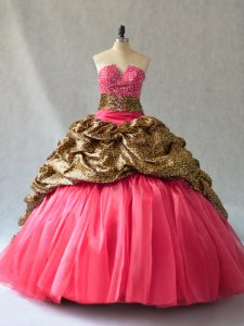 Cheap Coral Red Ball Gowns Organza V-neck Sleeveless Beading and Pick Ups Floor Length Lace Up Quinceanera Dress